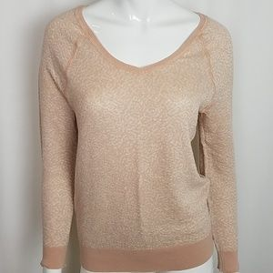 Ann Taylor Loft Blush V-Neck Long Sleeve Knit Top